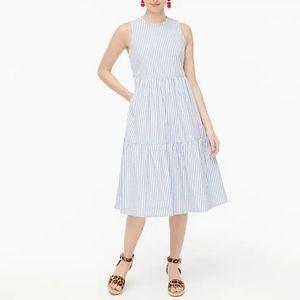 J. Crew Stripe Sleeveless Tiered Midi Dress